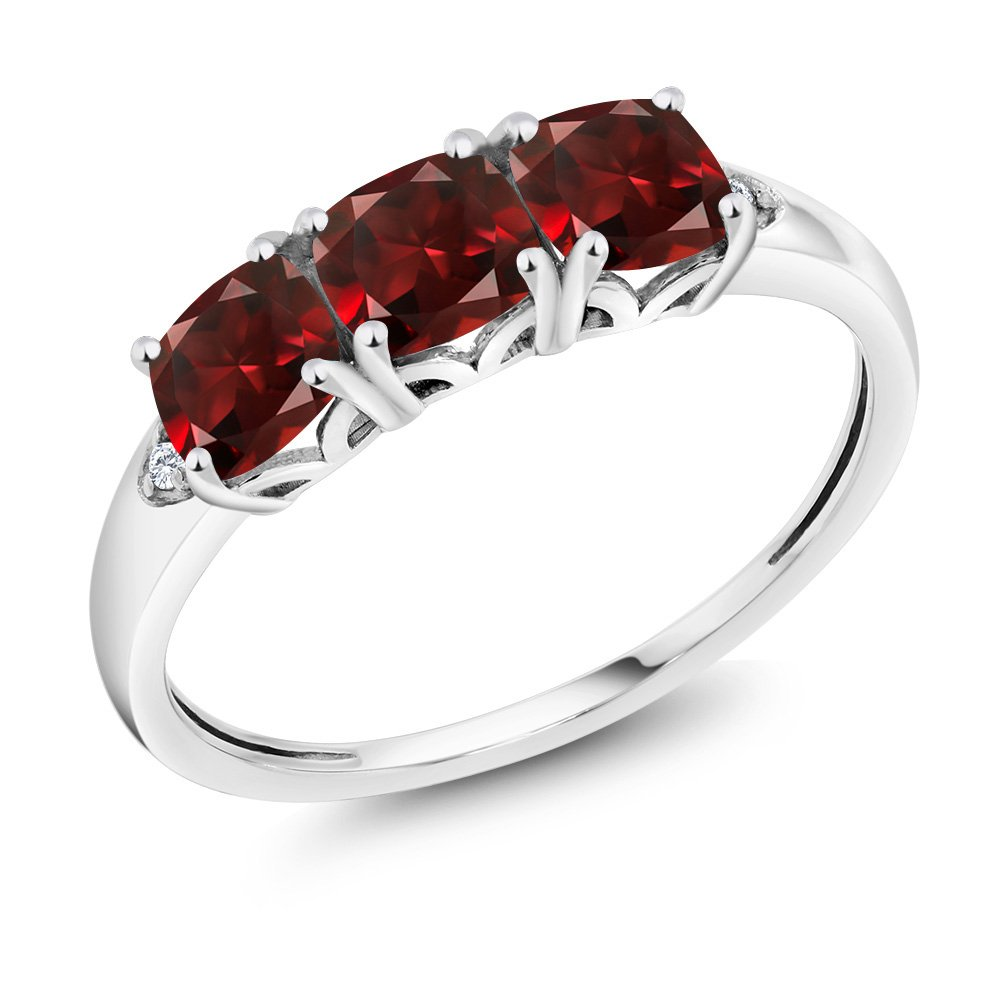10K White Gold 2.20 Ct Cushion Red Garnet and Diamond 3-Stone Ring (Ring Size 9)