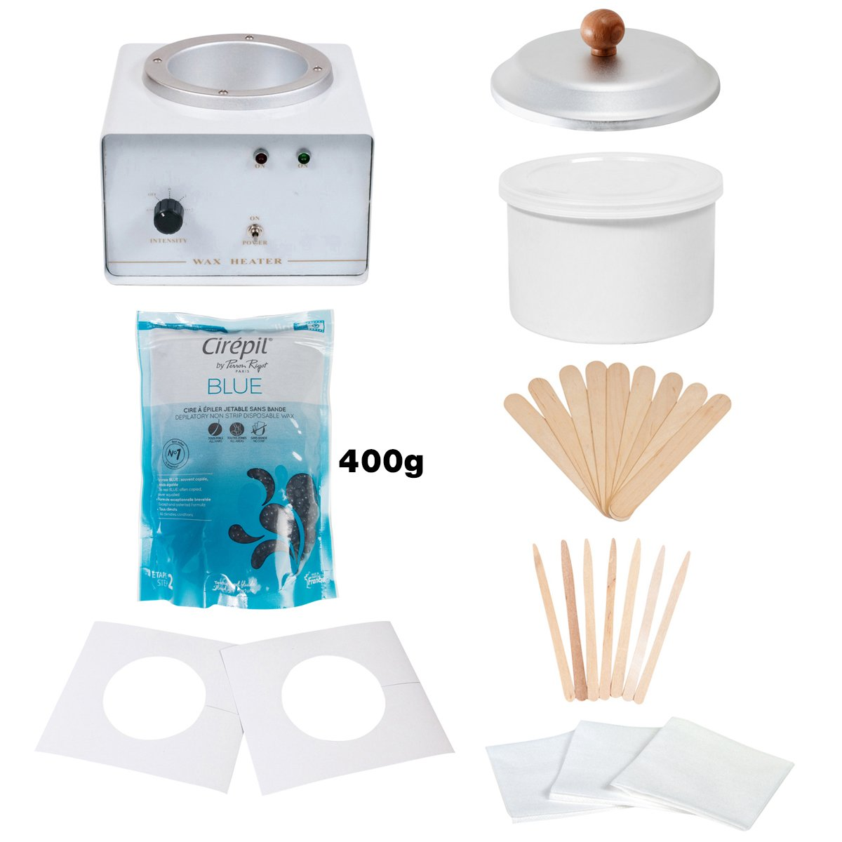 JMT Beauty Wax Warmer Kit, includes Cirepil Blue Bead Wax (400g) and accessories