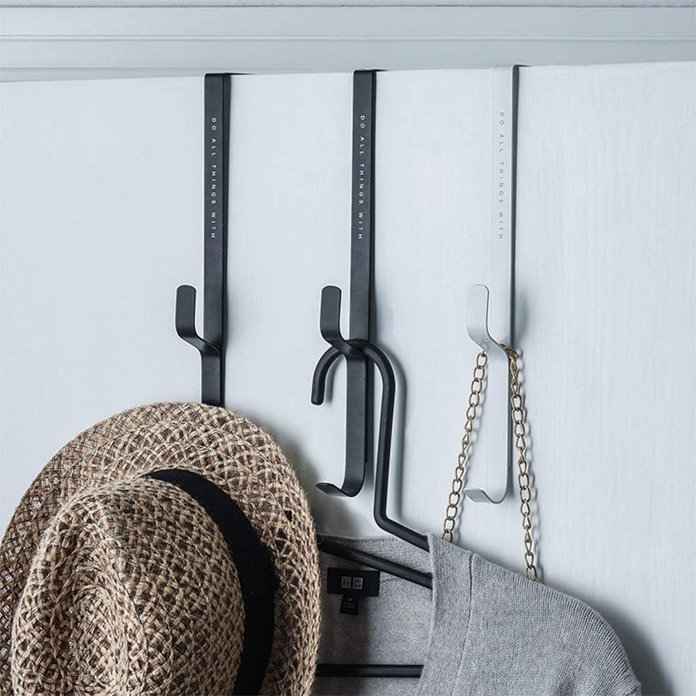 Gancho doble para usar como un gancho para ropa de perchero Perchero para pared Gancho para Ganchos sobre la puerta 3 Pcs // Set Ganchos para toallas de la puerta trasera del ba/ño del hogar blanco