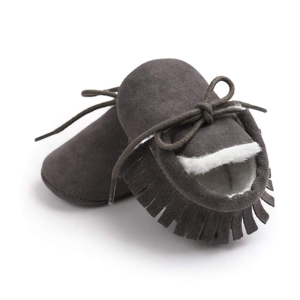 Dark Gray 12cm Alamana Frosted Tassel Infant Baby Warm Soft Sole Anti-Slip Prewalker Toddler Shoes