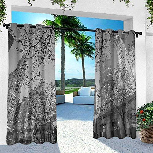 Hengshu Black and White, Balcony Curtains,Chicago City Downtown Nighttime Highrise Buildings Tree Branches, W84 x L84 Inch, Grey Black White