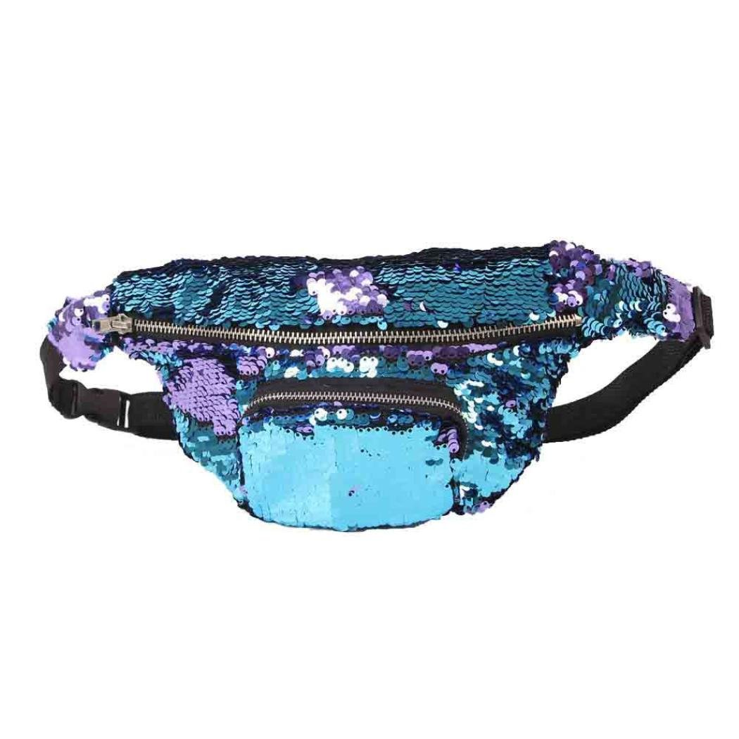 Lavany Women Handbags,Soft Waist Bags Pack Double Color Sequins Bag for Outdoors