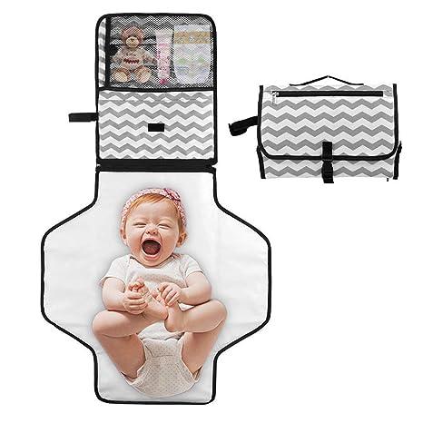 Cambiador Portátil de Pañales para Bebé, Fanmuran Almohadilla Impermeable de Cambio de Pañales para uso en Viajes, con Múltiples Bolsillos Plegables, ...