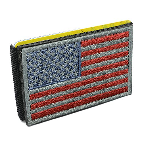 iCraft94070W Slim Front Pocket USA Flag Tactical Patch WalletRed and Grey