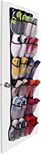 Over The Door Shoe Organizer - 24 Mesh Pockets,Hanging Shoe Organizer For Large Shoes, 4 Complete With Customized Metal Closet Door Shoe Organizer Hooks