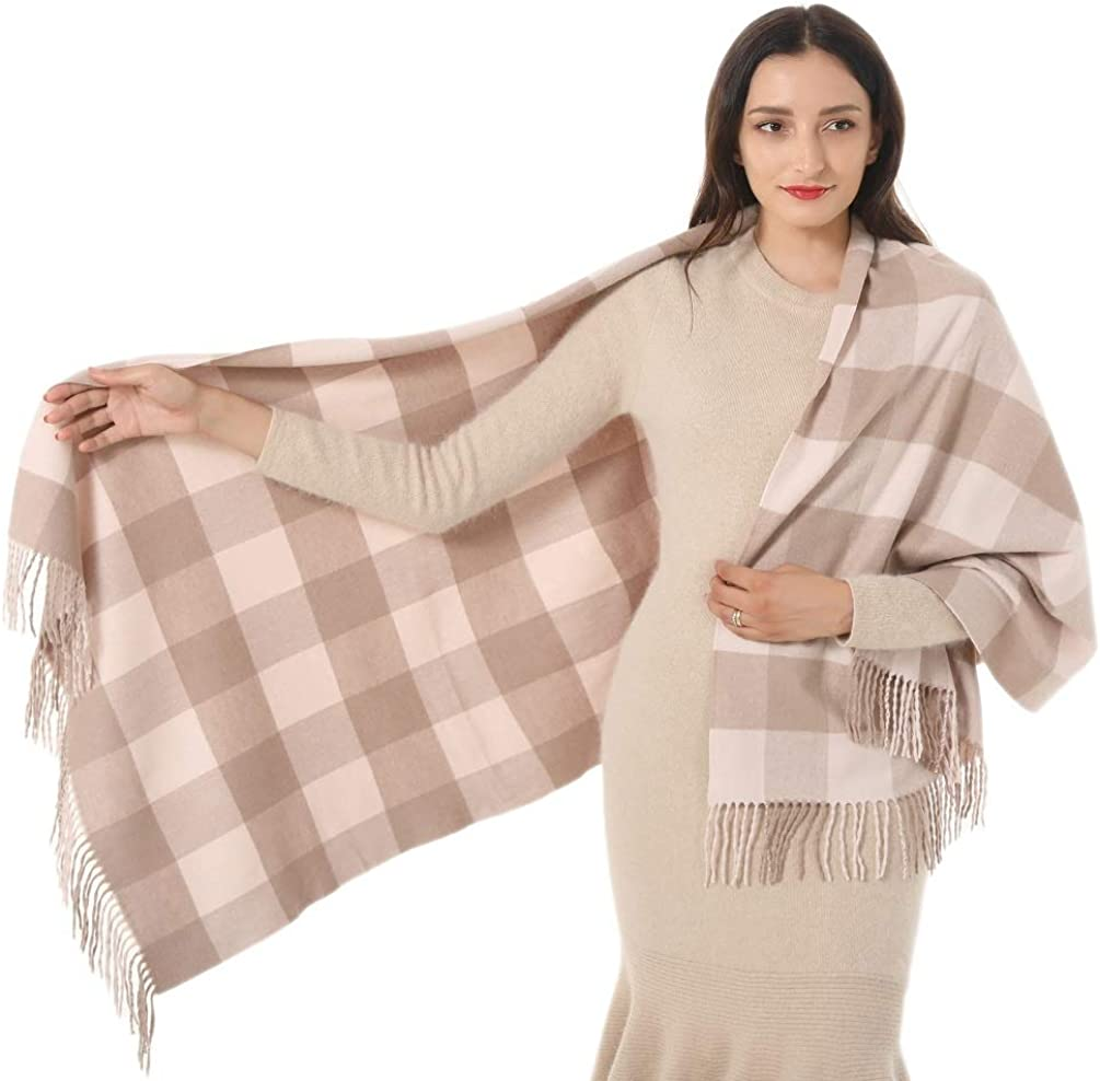 Super Soft Acrylic Cashmere Scarf Plaid Wrap Shawl Winter Gifts for Women Girl