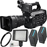 Sony PXW-FS7 4K XDCAM Super35 Camcorder Kit with 28 to 135mm Zoom Lens + 2 Replacement BP-U90 Batteries + 160 LED Video Light + 95mm UV Filter + Microfiber Cleaning Cloth