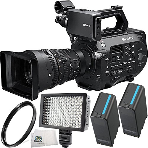 Sony PXW-FS7 4K XDCAM Super35 Camcorder Kit with 28 to 135mm Zoom Lens + 2 Replacement BP-U90 Batteries + 160 LED Video Light + 95mm UV Filter + Microfiber Cleaning Cloth by SSE