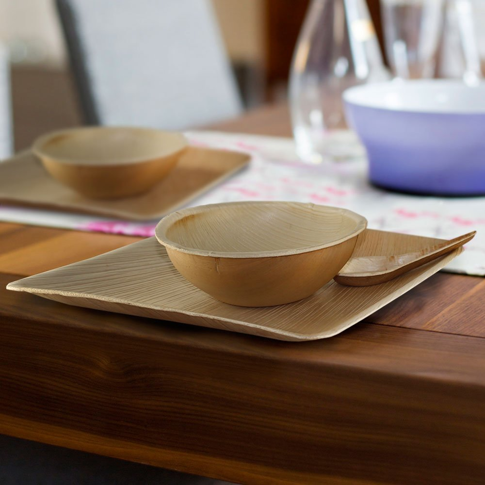 Disposable Eco Palm Paper Plates Square Compostable Biodegradable Heavy Duty Large Dinner Party Plate - Comparable to Bamboo Wood Fiber - Nice ... & Disposable Eco Palm Paper Plates: Square Compostable Biodegradable ...