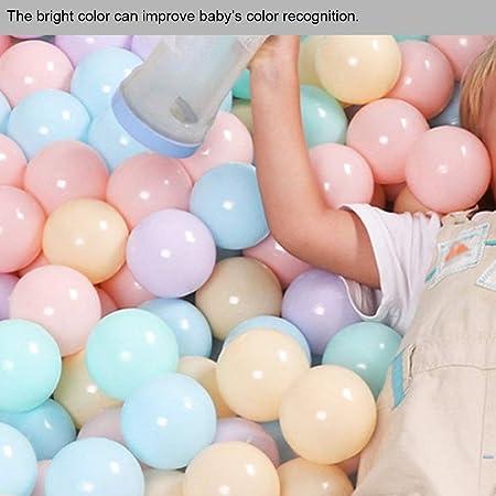 Lantro JS 100 Piezas/Juego de Bolas de OcéAno Coloridas, Bolas de Mar de Colores Brillantes de PláStico Suave No TóXico, Bolas de PláStico Blando de 5,5 Cm de DiáMetro para Bebés