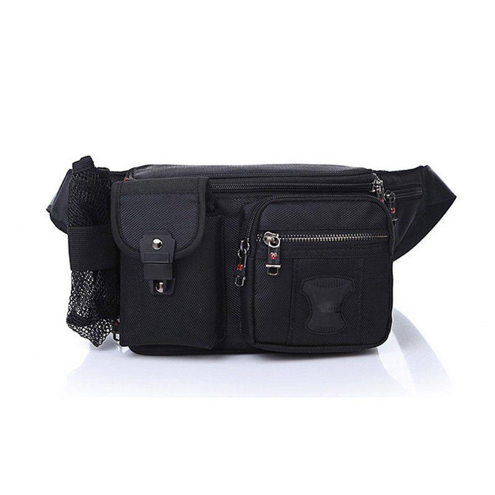 GSCSchuhe Gürtelholster Bag Fanny Hüfttasche Crossbody-Tasche für Männer Boy, schwarz Oxford Tuch Reisen Hals Beutel
