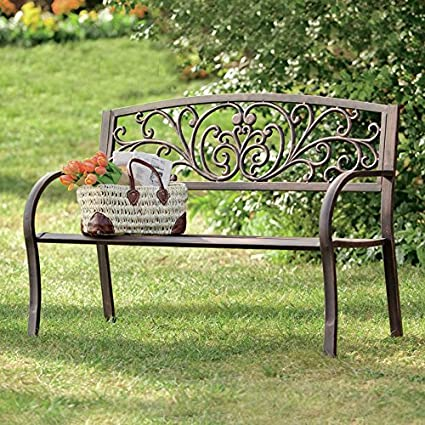 Beau Blooming Iron Garden Bench, Stunning Back Detailed With Scrollwork And  Vines, Comfortably Seats 2