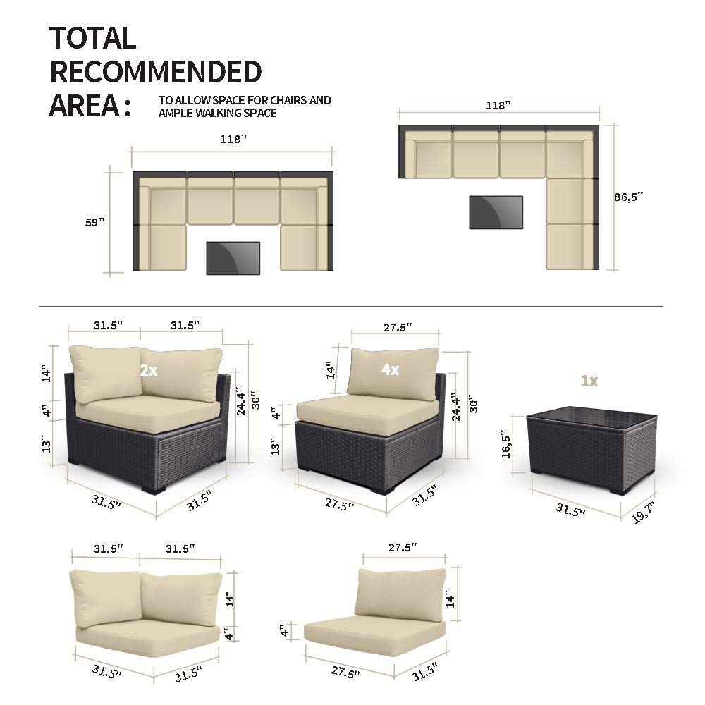 Amazon.com: Juego de sillones de mimbre 7G-U Modenzi ...