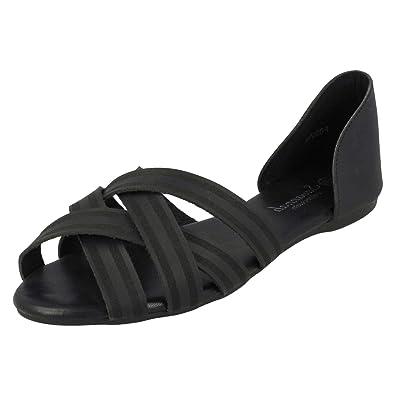 72f1c68f88 HeelzSoHigh Ladies Flat Black Slip-On Peep-Toe Ballerina Pumps Dolly  Gladiator Shoes Sizes 3-8: Amazon.co.uk: Shoes & Bags