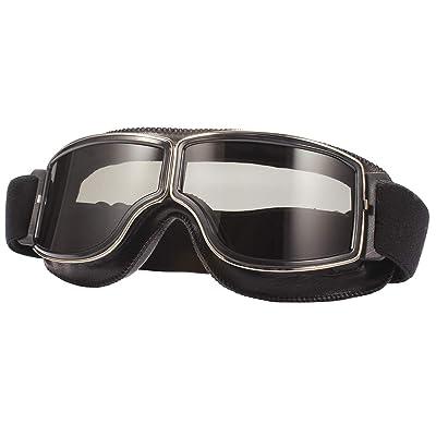 TYSKL Retro Pilot Motorcycle Goggles Fog-proof Warm Riding Goggles ATV Bike Motocross Glasses Protective Eyewear(A-black/Grey Lens): Automotive