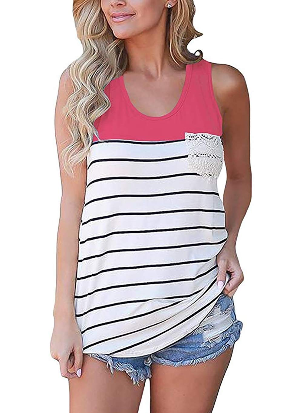 Fronage Women's Cotton Racerback Tank Tops Sleeveless Loose Fit T-Shirts (L, Rose Red)