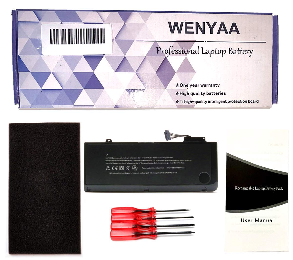 A1322 New Laptop Battery for MacBook Pro 13'' A1322 A1278 (Mid 2009,Mid 2010,Early 2011,Late 2011,Mid 2012);661-5229 020-6547-A 661-5557 MB990LL/A MB991LL/A MC374LL/A MC700LL/A --12 Months Warranty by WENYAA (Image #7)