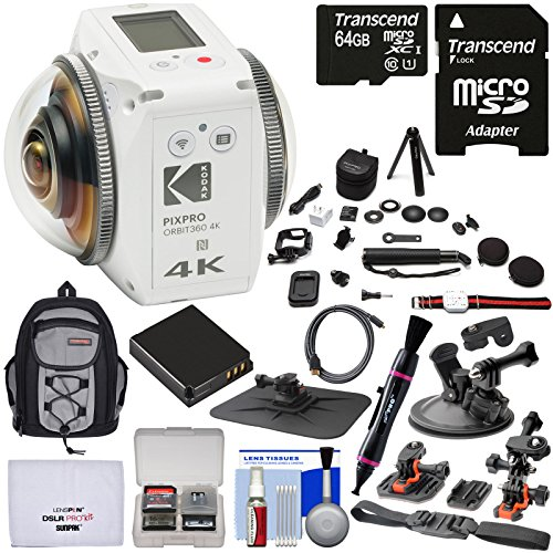 KODAK PIXPRO ORBIT360 VR 4K HD Wi-Fi Video Action Camera Camcorder - Satellite Pack with 64GB Card + Battery + Backpack + Action Mounts Kit
