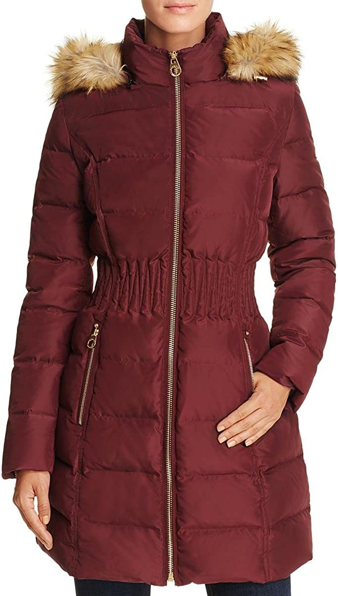 Laundry by Shelli Segal Women's 3/4 Length Windproof Down Coat with Cinched Waist