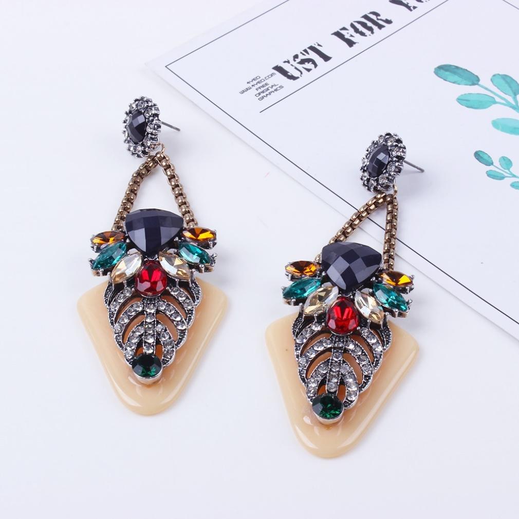 Lethez Womens Long Rhinestone Drop Dangle Earrings Novelty Jewelry for Girl and Women