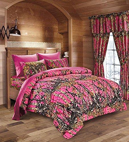 20 Lakes Hunter Camo Comforter, Sheet, Pillowcase Set (Twin, Bright Pink/Hot Pink)