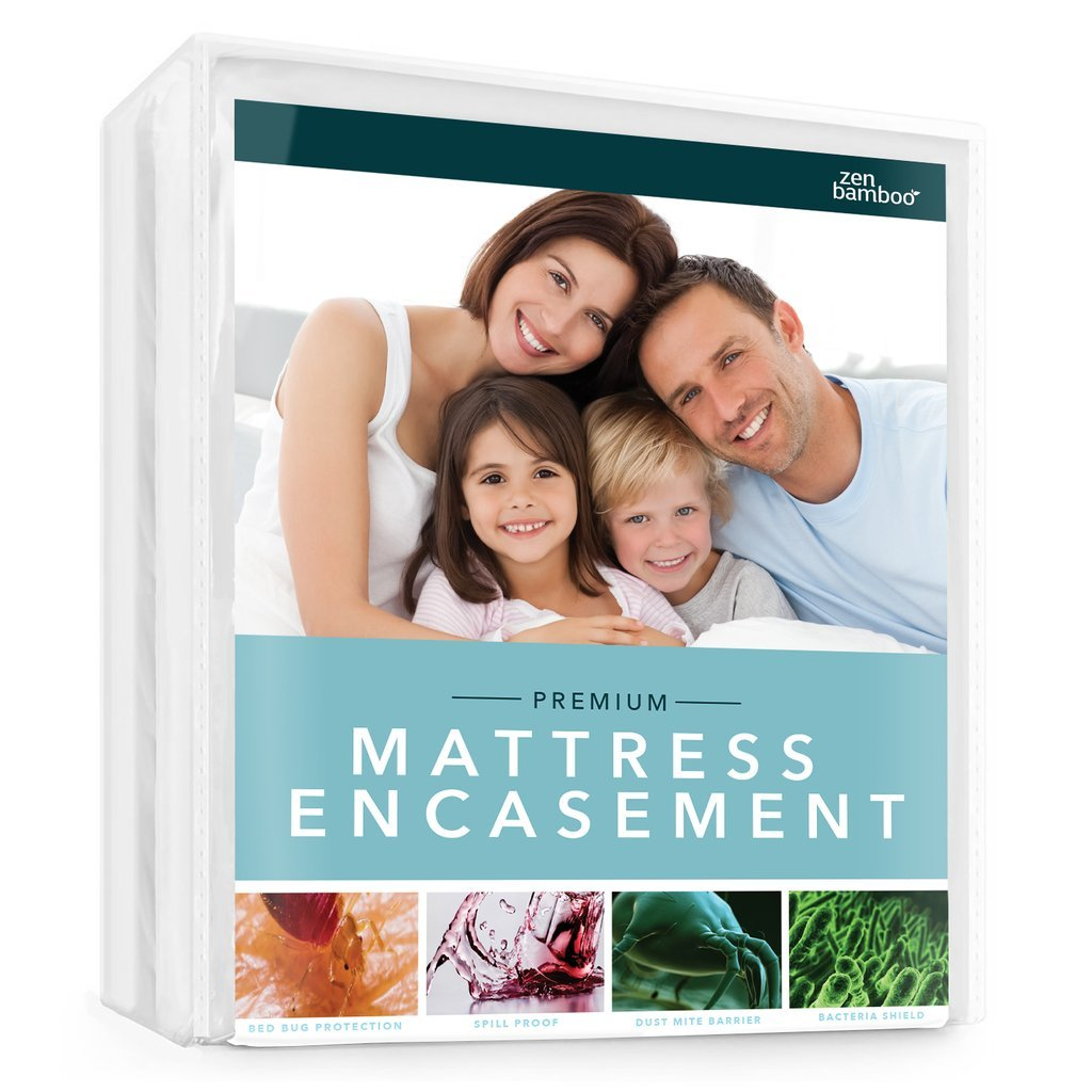 Zen Bamboo Mattress Encasement - Best Lab Tested Premium Waterproof, Hypoallergenic, Cool & Breathable Rayon Derived from Bamboo Mattress Encasement and Cover - King