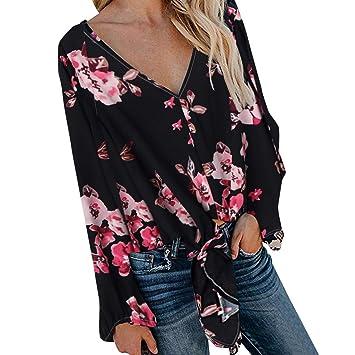 Posional Camisas para Mujer, Túnica con Cuello en V de Estampado ...