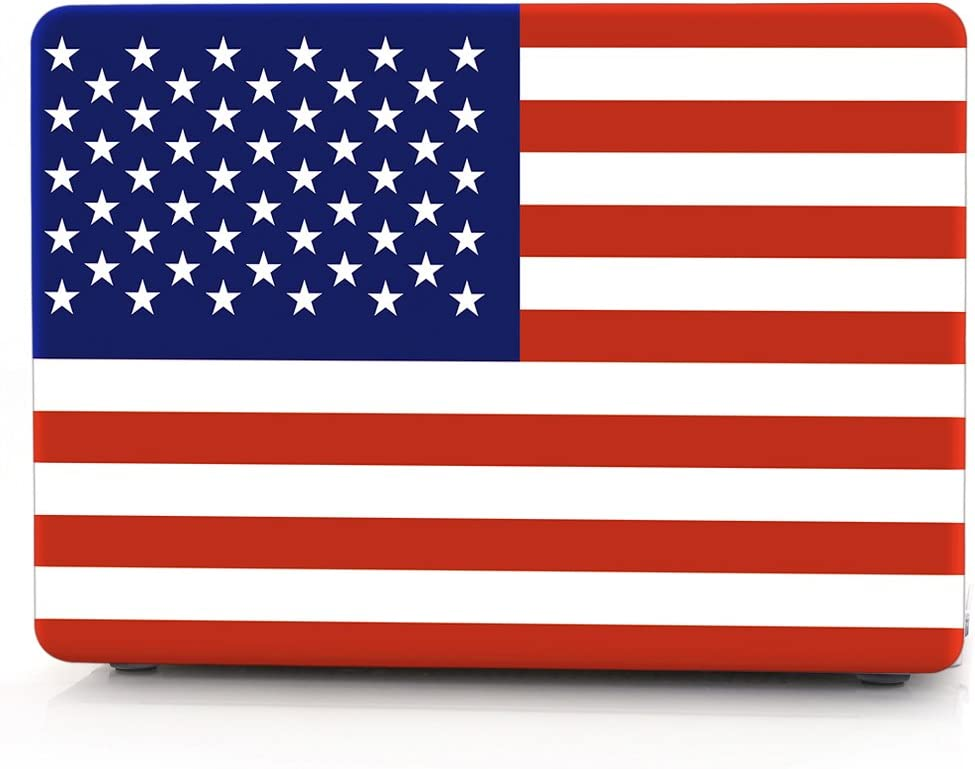 "HRH American USA Flag Design Laptop Body Shell Protective Hard Case for MacBook New Pro 15"" with Touch Bar A1707 A1990(2018 2017 2016 Release)"