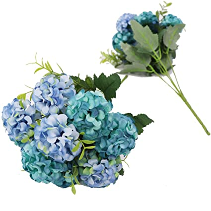 Amazon Crt Gucy 2 Bunches 10 Heads Artificial Flowers Silk Hydrangea Flower Bouquet Wedding Party Home DecorBlue Kitchen