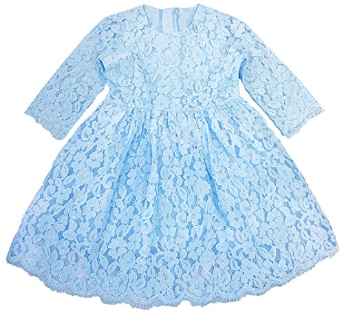 - 2Bunnies Girl Baby Girl Vintage Holly Floral Scallop Lace Flower Girl Dress (Blue 2, 6)