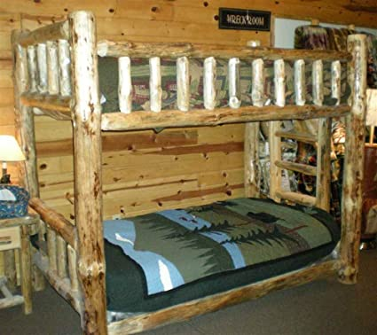 Amazon Com Rustic Pine Bunk Bed Twin Over Full Kitchen Dining