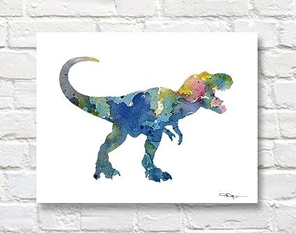 Amazon Com Tyrannosaurus Rex Abstract Dinosaur Watercolor