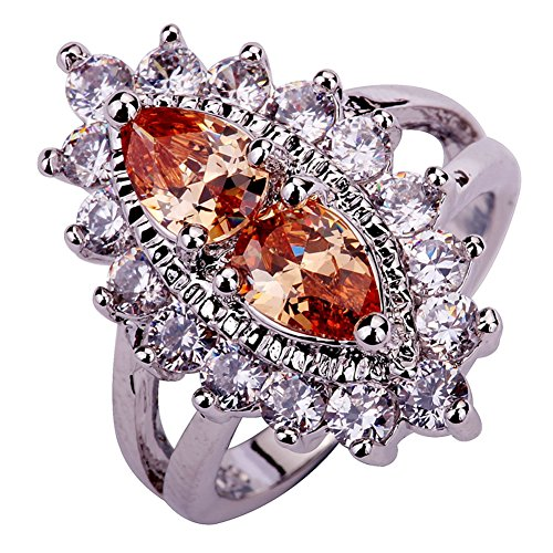 Narica Womens Brilliant Marquise Cut Morganite Cluster Engagement Cocktail Ring