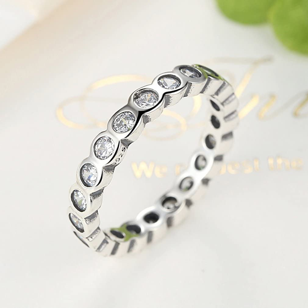 Clear CZ Everbling Alluring Brilliant 925 Sterling Silver Stackable Ring