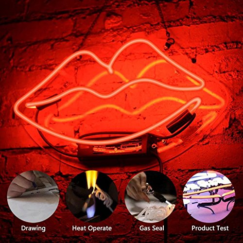 Lip Neon Sign Glass Neon Light for Girls Bedroom Lipstick Store Bar Hotel Decorative Sign 13.4 x 7.5 inch Red by FLYDOO (Image #4)