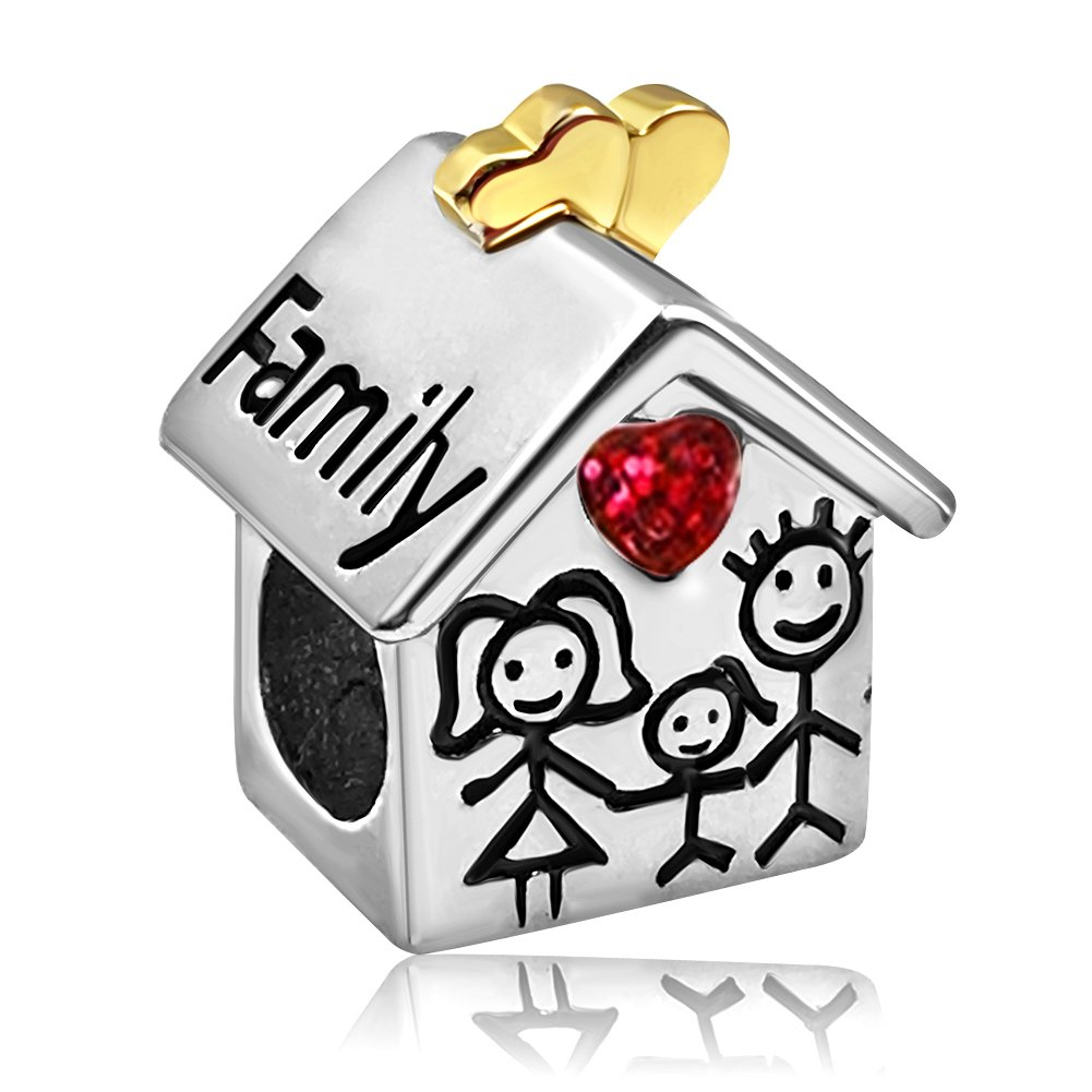 JMQJewelry Heart Love Family Birthstone House Mom Dad Girl Rhinestone Charms Beads For Bracelets JMQA003-07