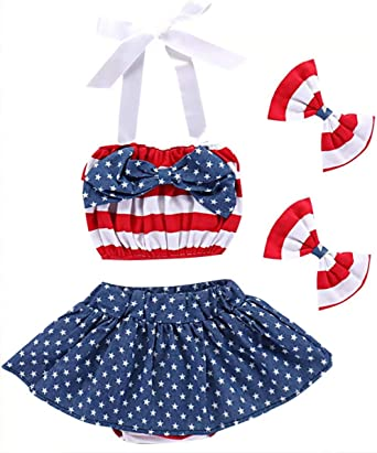 3Pcs Kid Baby Girls 4th of July Outfits Ruffled American Flag Stars T-Shirt Bowknot Shorts Headband Set 1-6Y