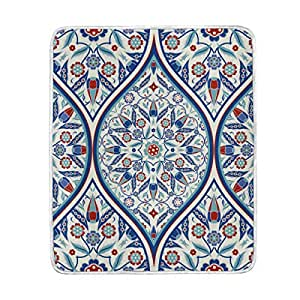 U LIFE Vintage Bohemian Indian Turkish Floral Mandala Striped Soft Fleece Throw Blanket Blankets for Nap Couch Bed Kids Adults 50 x 60 inch