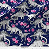 Spoonflower Dinosaurs Fabric Tiny Dinosaurs And Roses On Dark Blue Purple by Micklyn Printed on Basic Cotton Ultra Fabric by the Yard