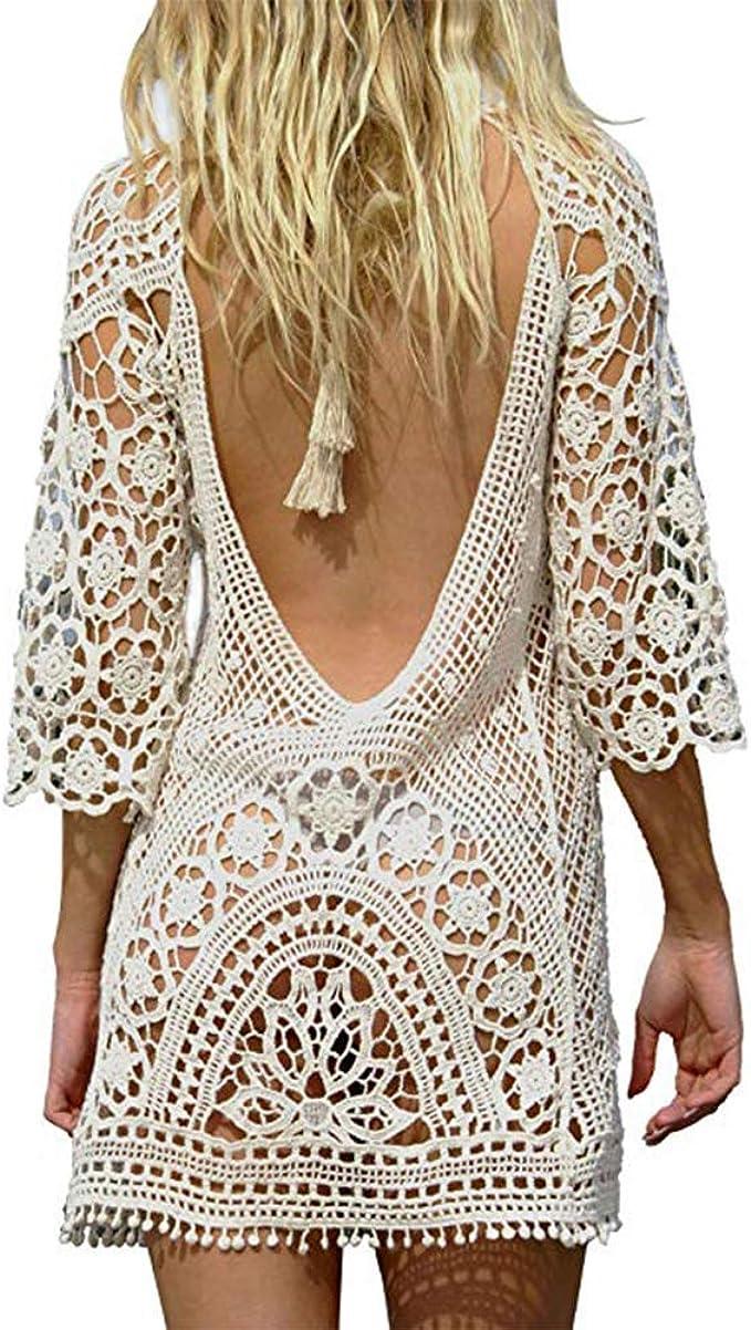 Saherewanr Women Swimsuit Cover Up Dress Lace Long Bathing Kimono Beach Wear Mini Crochet Stripe Cardigan White Tassel Skirt Back V At Amazon Women S Clothing Store