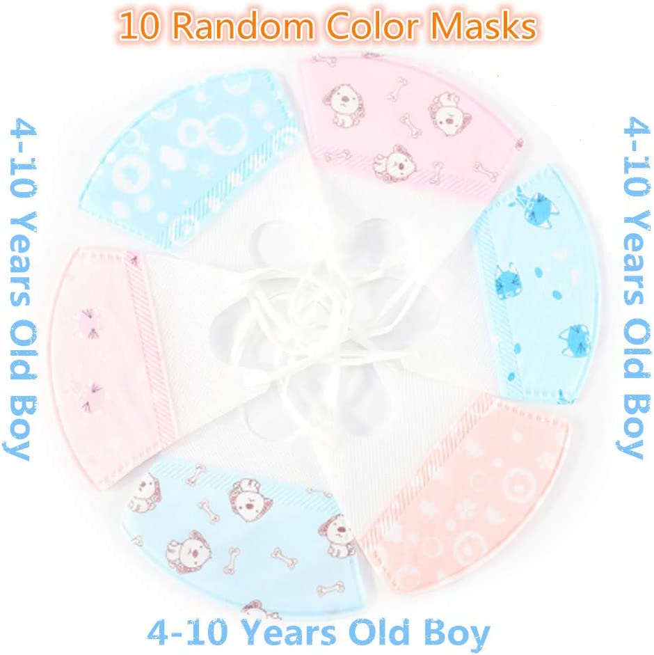 Mascarilla infantil, mascarilla 0-4 años de edad, muchacho, infantiles humo/a prueba de polvo/polvo no tejidas orejeras de alta calidad, 10 colores al azar