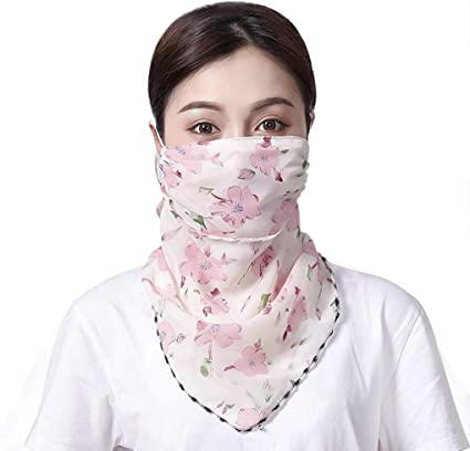 Womens Adjustable Sun Protection Face Scarf Breathable Print Neck Gaiter 50 UV Protective Cover for Face Neck Anti-dust Cover Bandana for Outdoor Activities