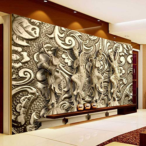 3D Wall Stickers Wallpaper Murals Decorations Relief Statue Living Room Background Art Girls Bedroom (W)400X(H)280Cm