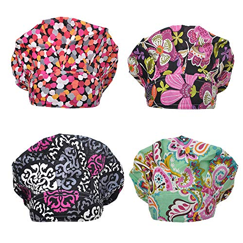 Opromo Bouffant Scrub Hat Sweat Bleach Friendly Banded Hat for Women Ponytail-Assorted 5