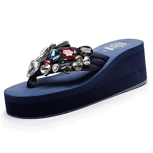 Cuñas de Color Liso con Perlas de Flores Aletas Zapatos de Playa Sandalias Zapatillas LILICAT ✈✈ 2019 Mujeres niñas Cuñas Hechas a Mano con Motivos ...