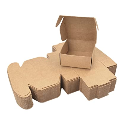 Wangjie 50PCS Cajas de Regalos Cajas de Cartón de Papel Kraft Vintage Automontables para Empaquetar o