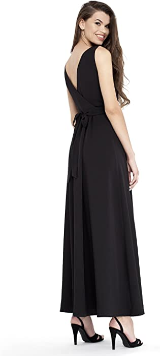 8bd2ad6b24a VILONNA Women s Semi Formal Long Maxi Dresses Sexy Summer Belted Sleeveless  Evening Maxi Dress (Black. Back. Double-tap to zoom