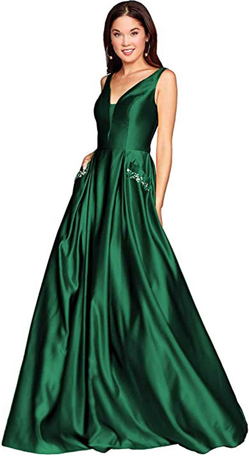 Green Rmaytiked Womens V Neck Beaded Prom Dresses Long Satin A Line Formal Evening Ball Gowns with Pockets
