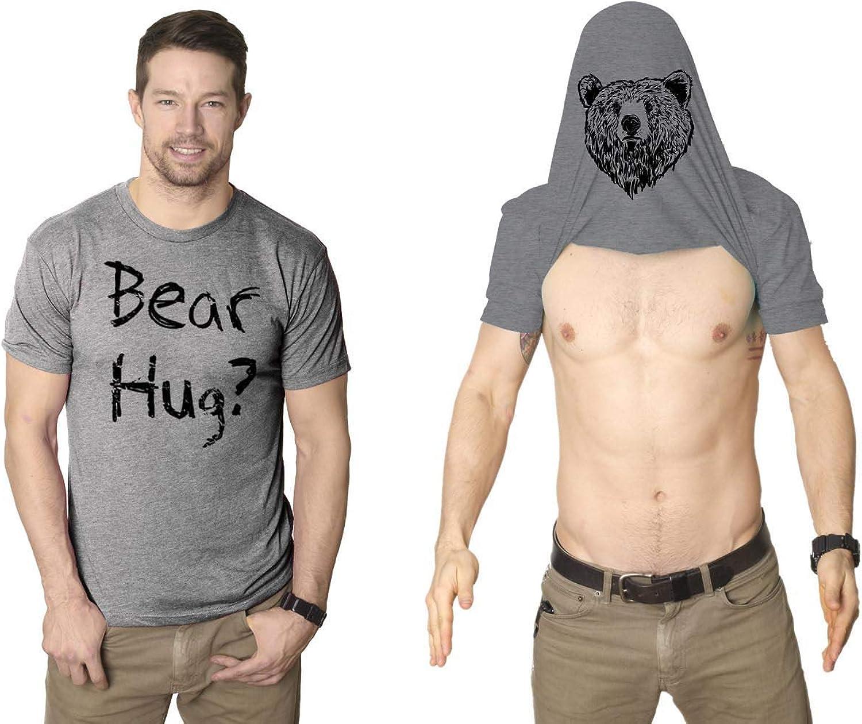 Mens Grizzly Bear Flip T Shirt Funny Hug Shirt Humorous Novelty Tee Crazy Humor