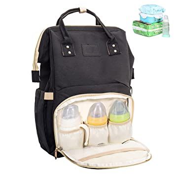 a05941aeae Amazon.com   Interlink Baby Diaper Bag Backpack Multi-Function Waterproof Large  Capacity Portable Nappy Bags Travel Mini Tote Shoulder Bags Organizer ...